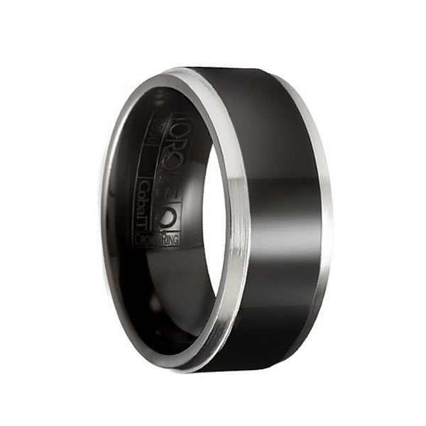 LEONHART Torque Black Cobalt Wedding Ring Flat Polished with Brushed Edges by Crown Ring - 9 mm