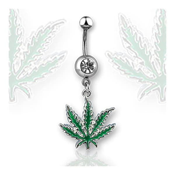 "Navel Belly Button Ring with 1-Gem and Green Potleaf - 14GA 3/8"" Long"