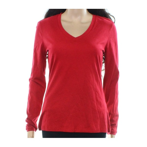 66c7e926db8 Shop Lord   Taylor NEW Red Womens Size 1X Plus V-Neck Stretch Solid Knit  Top 525 - Free Shipping On Orders Over  45 - Overstock.com - 20559650