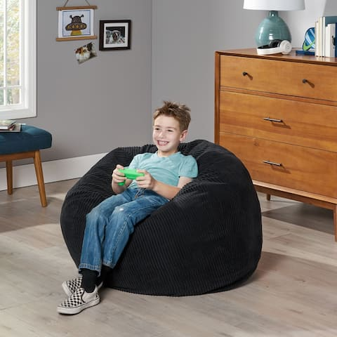 Kenli 3 Foot Modern Corduroy Beanbag by Christopher Knight Home
