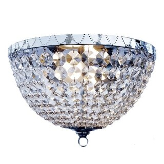 All the Rages FM1001 Elegant Designs 2 Light 13 Inch Wide Flush Mount Ceiling Fixture with Draped Crystal Shade
