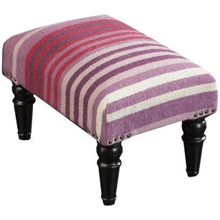 """18"""" Purple, Red and Ivory Striped Upholstered Wool and Wooden Foot Stool Ottoman"""