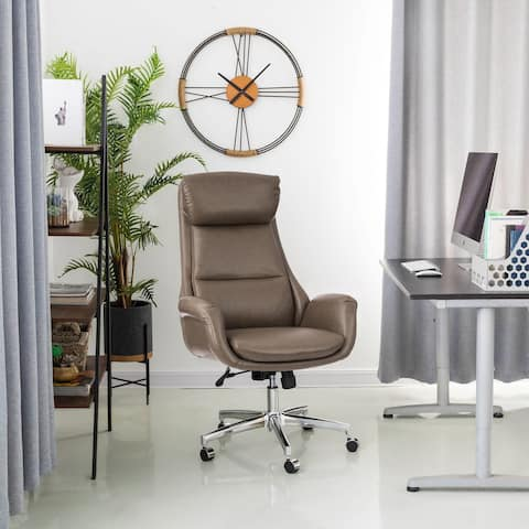 4FT Mid-Century Modern Black/ Coffee/ Grey Breathable Leatherette Office Chair by Glitzhome