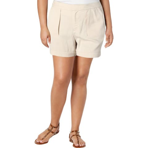 Ivanka Trump Womens Casual Shorts Tencel Pleated