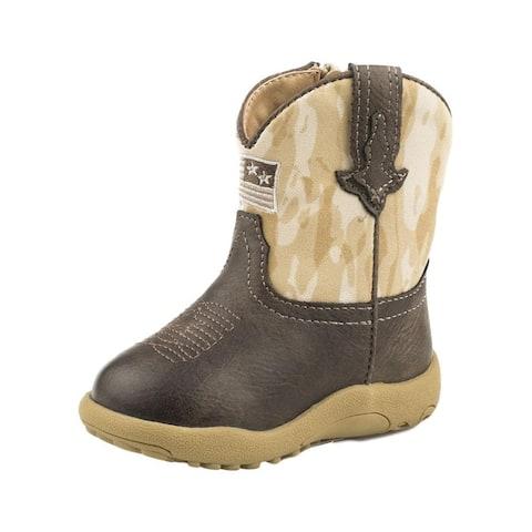 Roper Western Boots Boys Allegiance Flag Brown