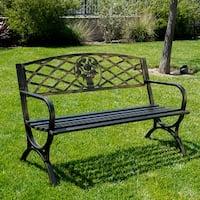 """Belleze 50"""" Patio Garden Bench Park Yard Outdoor Furniture Porch Chair Seat Steel Frame, Bronze"""