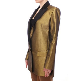 Roberto Fragata Black Gold Silk Coat Jacket Long Blazer