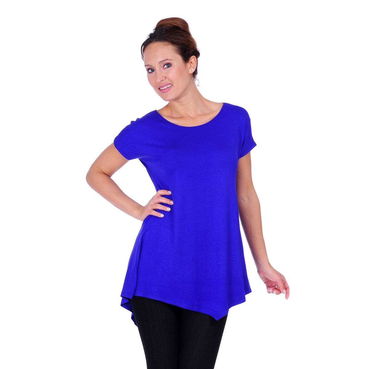 Simply Ravishing Women's Assymetrical Front/Back Handkerchief Hem Sleeveless Tunic Top - Thumbnail 11