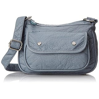 Wild Pair Womens Faux Leather Adjustable Strap Crossbody Handbag - Blue - SMALL