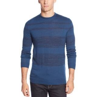 Calvin Klein Merino Wool-Blend Striped Crew-Neck Sweater X-Large XL Deep Royal
