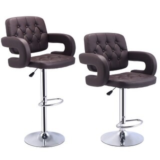 Costway Set of 2 PU Leather Swivel Bar Stools Hydraulic Pub Chair Adjustable Brown