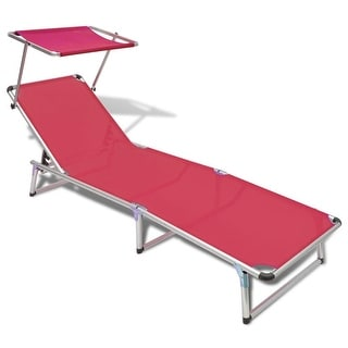"vidaXL Folding Sun Lounger with Roof Aluminium and Textilene Red - 78"" x 24"" x 10.2"""