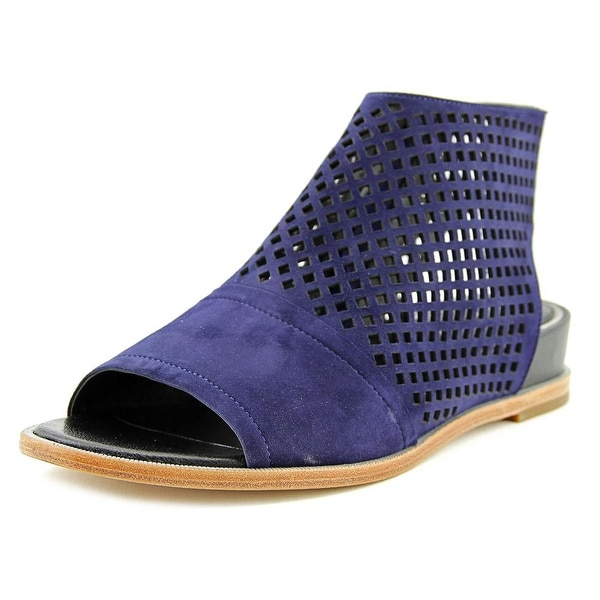 Elie Tahari Venice Women Open Toe Suede Blue Wedge Sandal