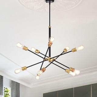Link to Lorena Modern 10-light Sputnik Black and Gold Linear Chandelier Similar Items in Chandeliers