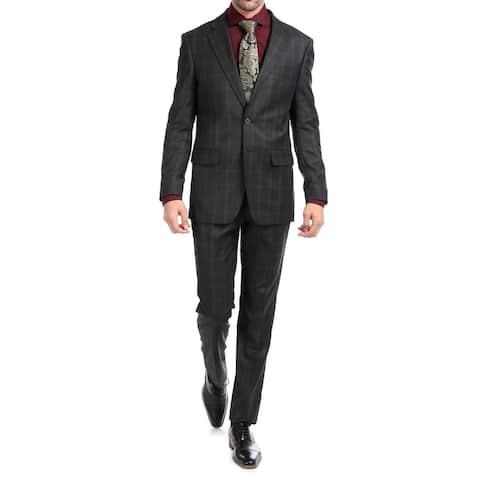 Ferrecci Yves Plaid Check Men's Premium 2pc Premium Wool Slim Fit Suit