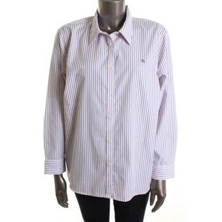 Ralph Lauren Womens Plus Striped Cotton Button-Down Top - 3X