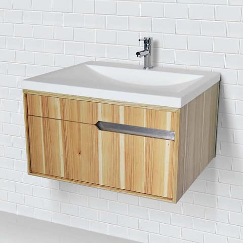 """DecoLav 1801 Cityscape 29-19/32"""" Wall Mounted / Floating Vanity Set with Birch Cabinet, Vanity Top, and Int - Hickory"""