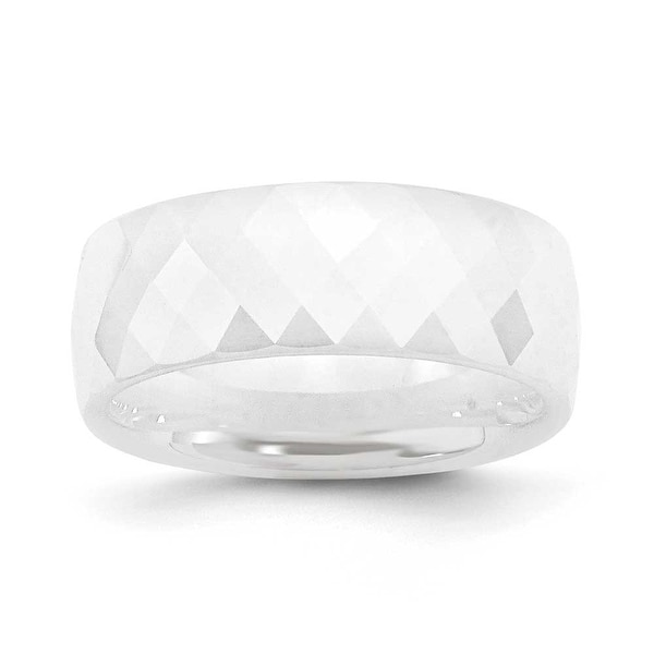 Chisel White Ceramic Ring (8.0 mm)