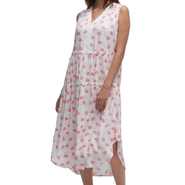 880bb570e89 Shop DKNY White Pink Women s Size XL Lip Print V-Neck Shift Dress ...