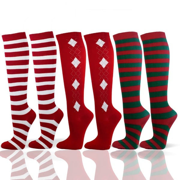6 Pairs of Christmas Color Premium Quality Cotton Knee High Socks(Available in Adult and Youth Size)