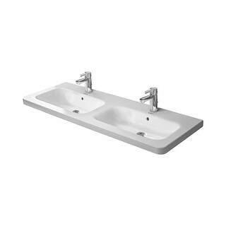 """Duravit 2338130000 DuraStyle Ceramic 51-1/8"""" Double Basin Bathroom Sink for Vanity, Wall Mounted or Pedestal Installations with"""