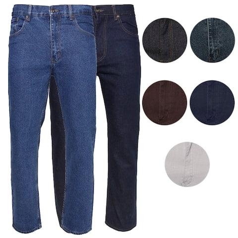 Mens Denim Jeans Pants Premium Cotton Straight Leg Regular Fit Style CA999