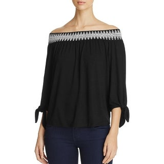 K&C Womens Casual Top Embroidered Off-The-Shoulder - s