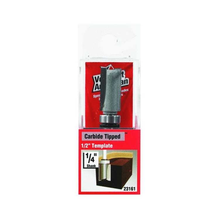 Vermont American 23161 Carbide Tipped Template Trim Router Bit, 1/2 x 1