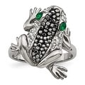 Stainless Steel Polished with Crystal Frog Ring - Thumbnail 0