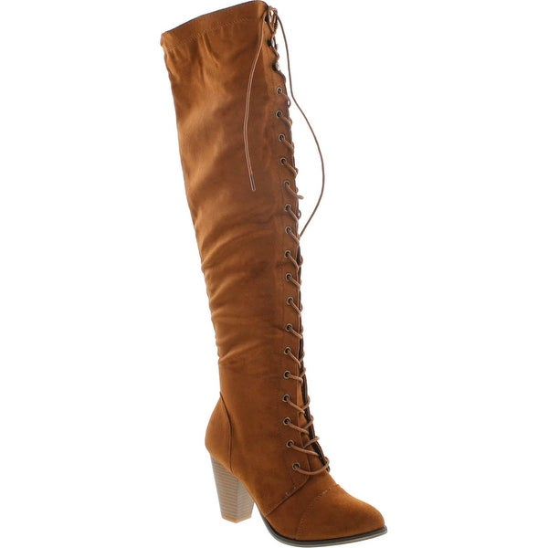 Forever Camila-48 Women's Chunky Heel Lace Up Over The Knee Brown High Riding Boots