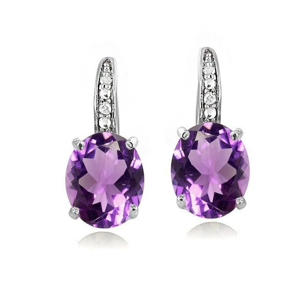 Glitzy Rocks Sterling Silver Gemstone and Diamond Accent Leverback Earrings (I-J, I2-I3). Opens flyout.