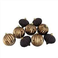 4 in. Black & Copper Glitter Striped Shatterproof Christmas Onion