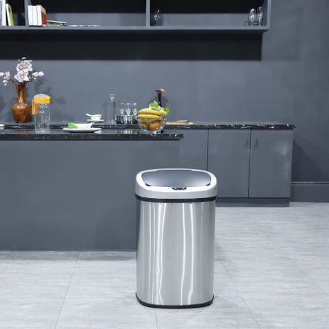 Totti 13 Gallon Stainless Steel Matte Finish Motion Sensor Trash Can w/ Black Soft Closing Lid & Active Odor Filter