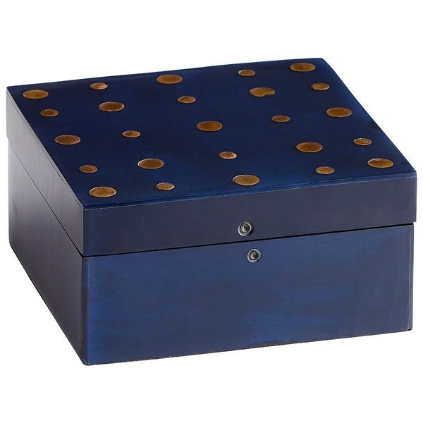 "Cyan Design 09788 Dotty 2-1/2"" x 5-1/4"" Wood Decorative Container with Brass Accents - Blackened Blue"
