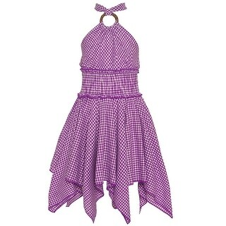 Lele Little Girls Purple Checker Pattern Halter Strap Angled Hem Dress