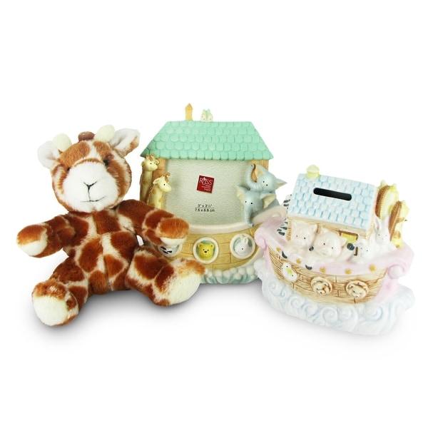 Noah's Ark Gift Set w/ Giraffe Plush, Frame & Bank by Russ Berrie - Multi - 7.0 in. x 3.0 in. x 6.0 in.