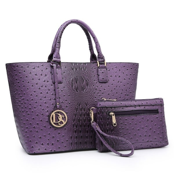 Dasein Ostrich Embossed Tote with Accessory pouch. Opens flyout.