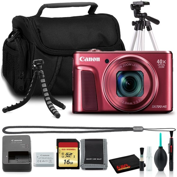 Canon Powershot SX720 Digital Camera (Red) with Tripods, 16GB Memory,. Opens flyout.