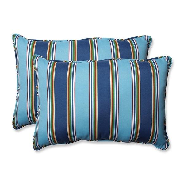 Set Of 2 Blue Awning Stripe Rectangular Outdoor Patio Throw Pillows 24 5