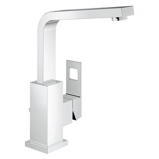 Grohe 23 184 A  Eurocube 1.2 GPM Single Hole Bathroom Faucet with SilkMove and QuickFix Technologies - Starlight Chrome