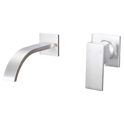 Novatto ARTZ Single Handle Wall Mount Bathroom Faucet in Brushed Nickel