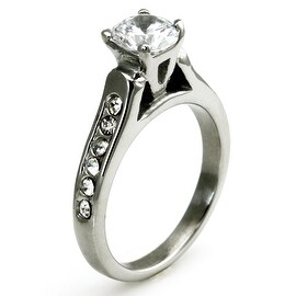 Imitation Diamond Solitaire Ring with Channel Set CZs