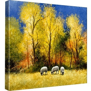 """PTM Images 9-97785  PTM Canvas Collection 12"""" x 12"""" - """"Fall Feed"""" Giclee Sheep Art Print on Canvas"""