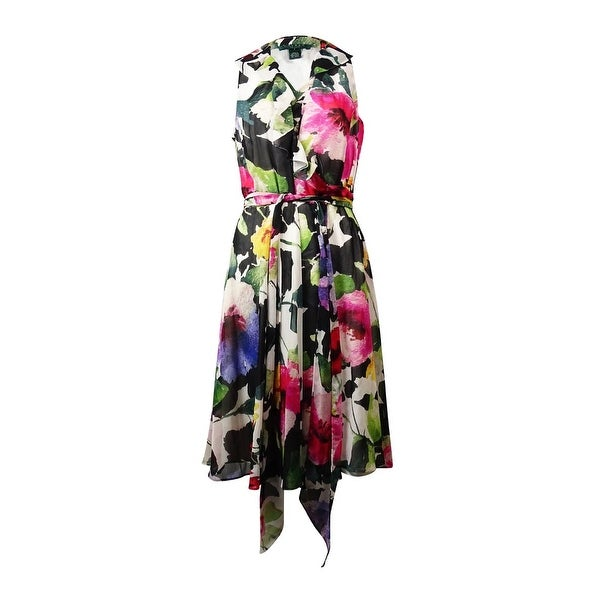 Ralph Lauren Women's Watercolor Ruffled Wrap Dress - black/pink/multi