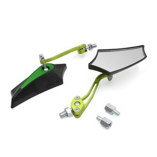 Green 8mm 10mm Thread Dia Adjustable Rearview Mirror For Motorcycle Motorbike