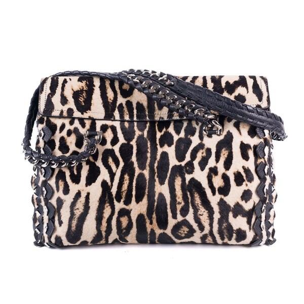 ec51547d397 Shop Roberto Cavalli Womens Cheetah Print Pony Hair Black Leather Handbag -  Free Shipping Today - Overstock - 19756346