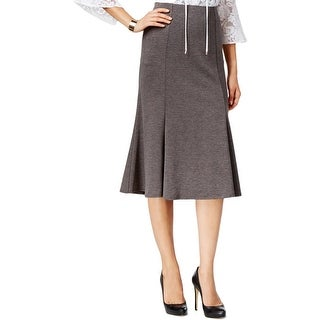 NY Collection Womens A-Line Skirt Ponte Mid-Calf
