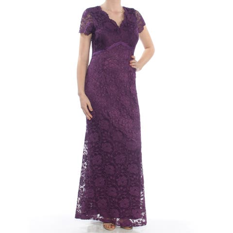 0390bde8f9 ELLEN TRACY Womens Purple Lace Gown Short Sleeve V Neck Full-Length Evening  Dress Size