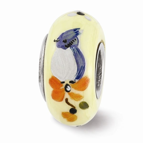 Sterling Silver Reflections Hand Painted Baby Blue Jay Glass Bead