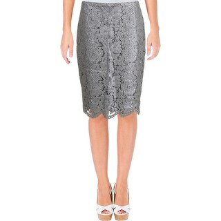 Lauren Ralph Lauren Womens Barniacio Pencil Skirt Metallic Lace